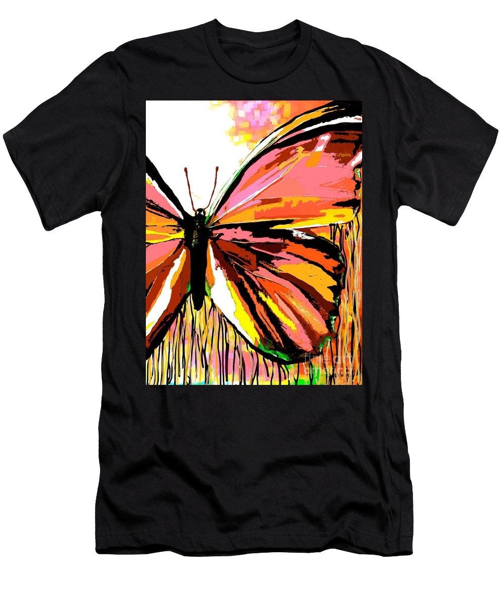 Pink Butterfly Men's T-Shirt (Athletic Fit) featuring the painting Pink Butterfly by Saundra Myles
