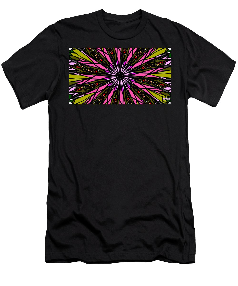 Pink Explosion Men's T-Shirt (Athletic Fit) featuring the digital art Pink Explosion by Elizabeth McTaggart
