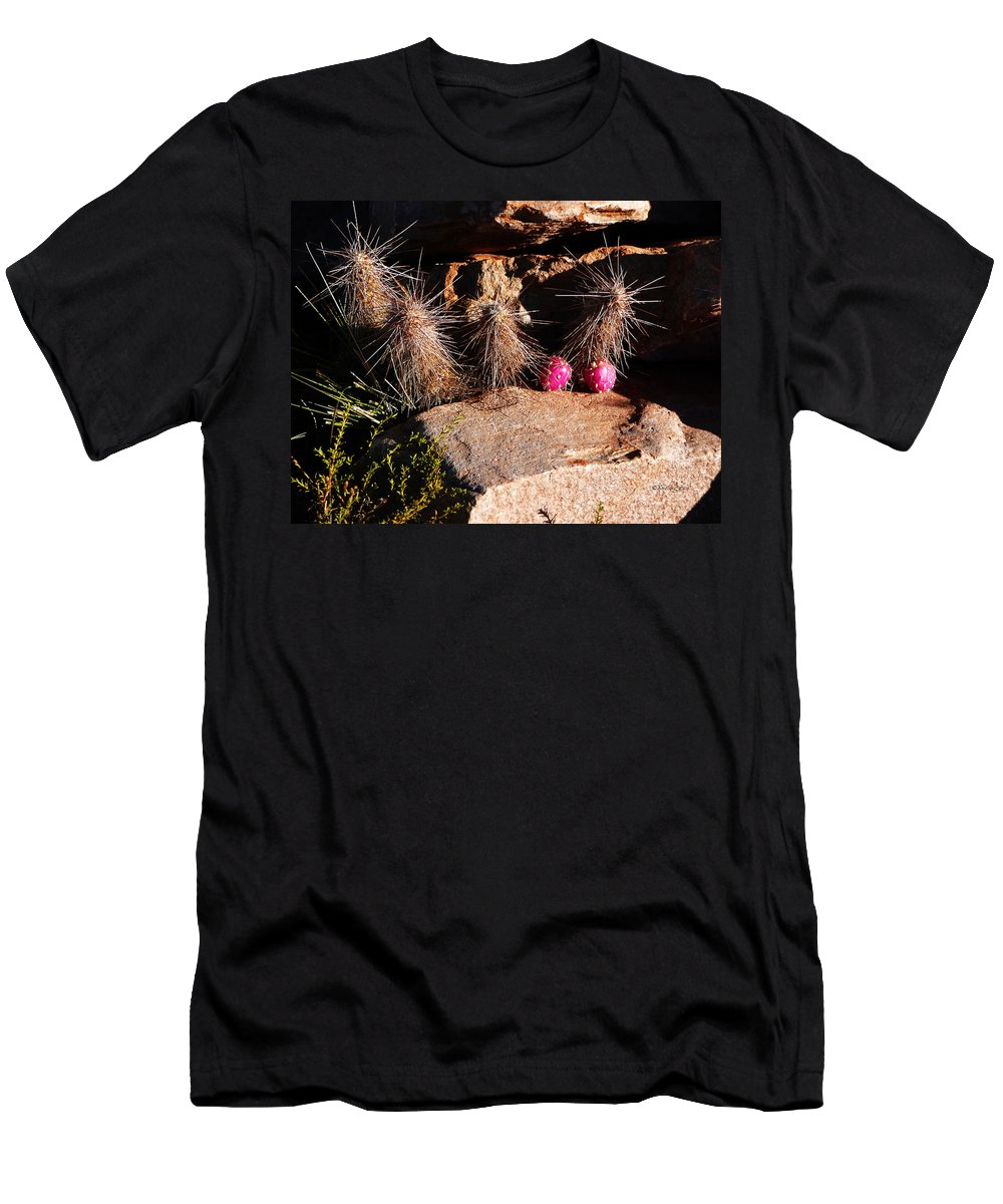 Prickly Men's T-Shirt (Athletic Fit) featuring the photograph Pink Lady Cactus by Xueling Zou