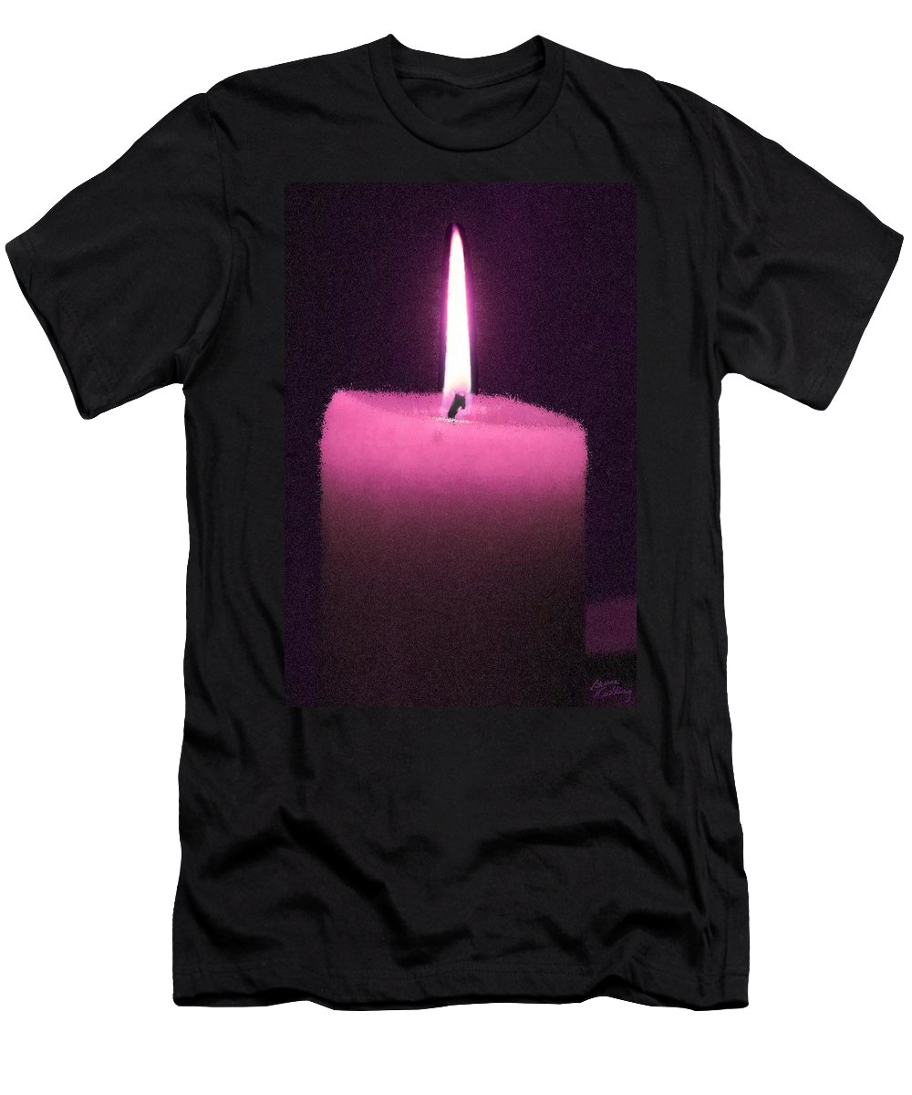 Pink Men's T-Shirt (Athletic Fit) featuring the painting Pink Lit Candle by Bruce Nutting