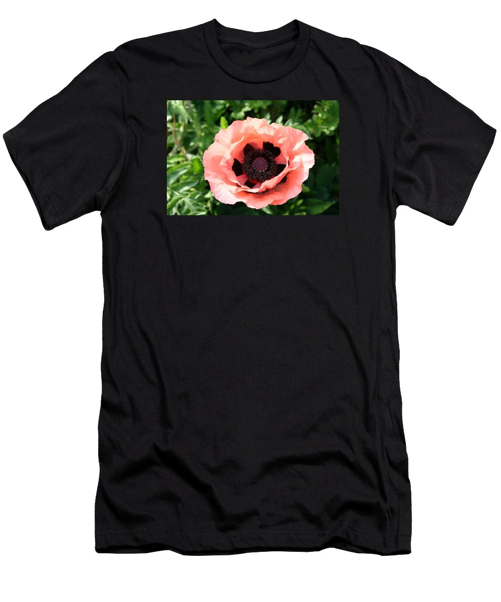 Poppy Men's T-Shirt (Athletic Fit) featuring the photograph Pink Poppy Bloom by Christiane Schulze Art And Photography
