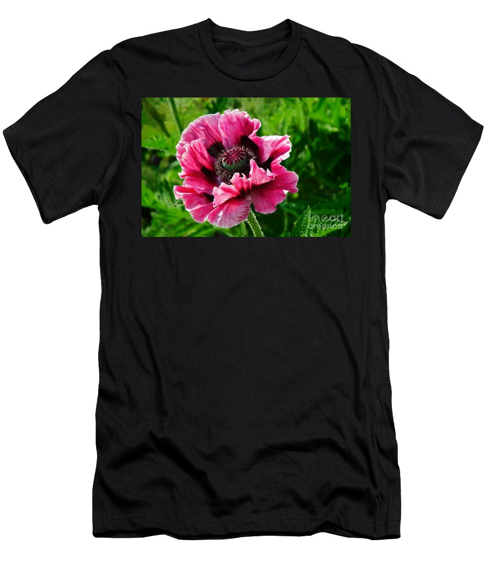 Poppy Men's T-Shirt (Athletic Fit) featuring the photograph Pink Poppy by Susie Peek