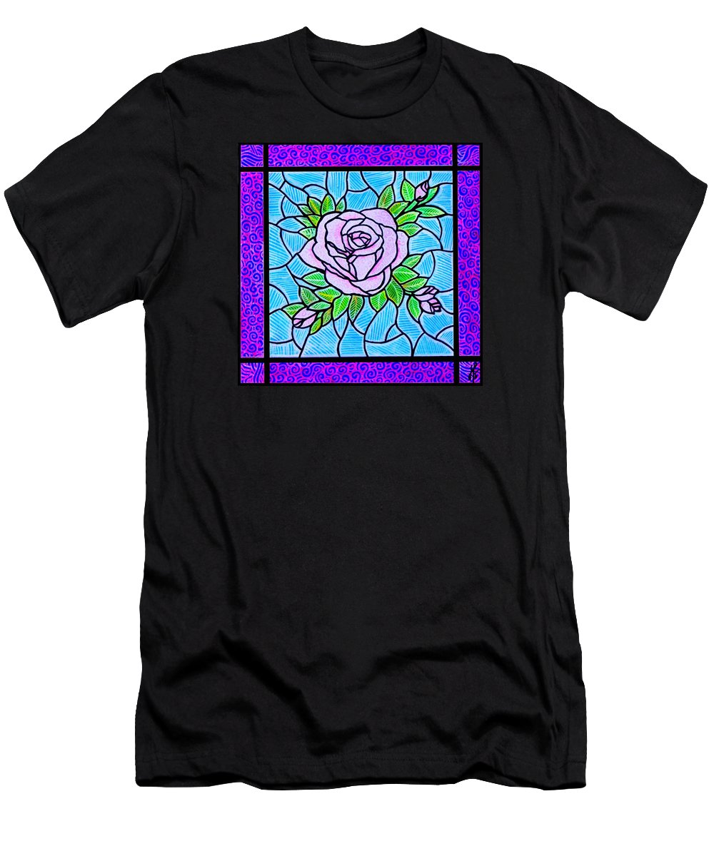 Rose Men's T-Shirt (Athletic Fit) featuring the painting Pink Roses by Jim Harris