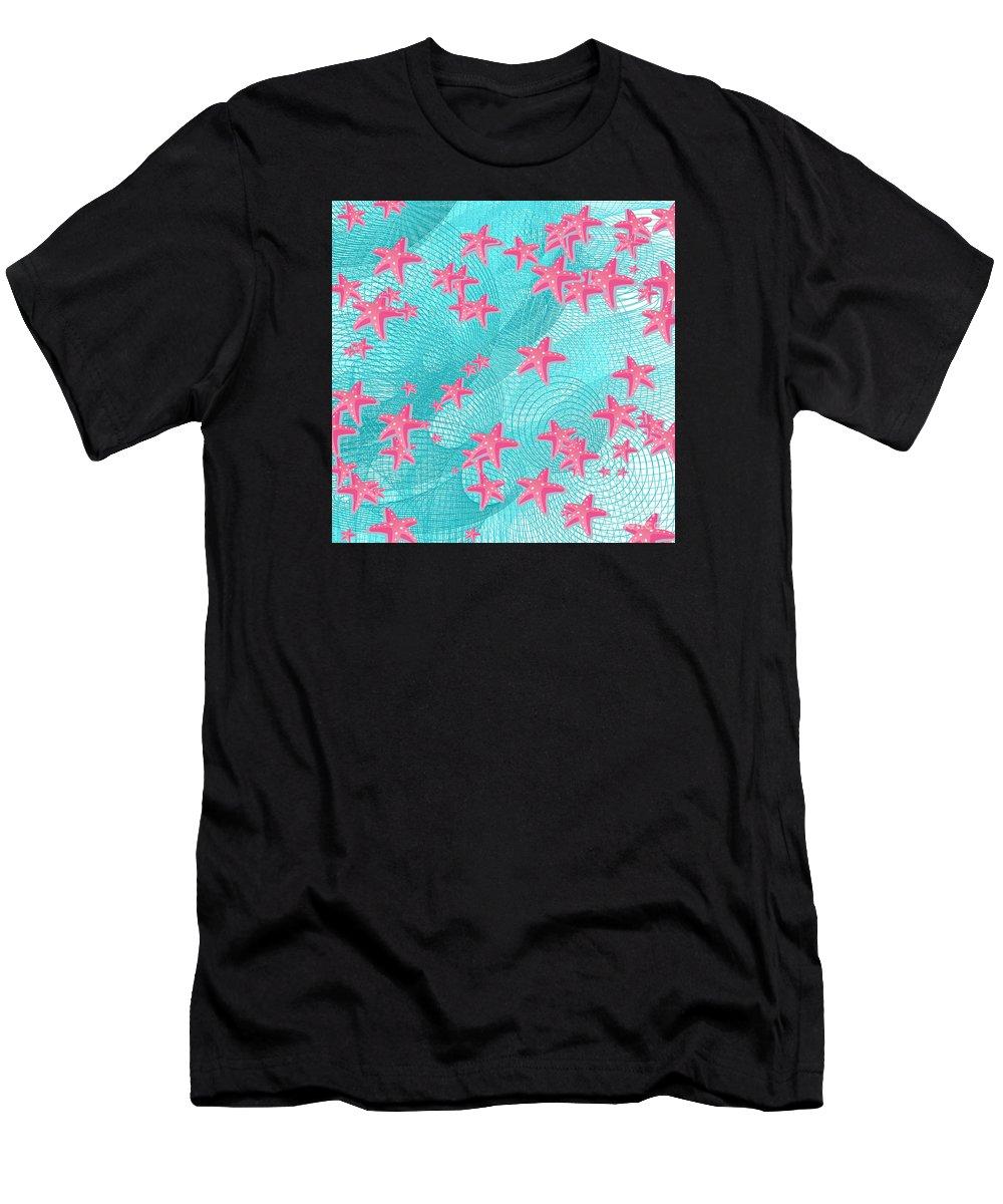 Fish Men's T-Shirt (Athletic Fit) featuring the digital art Pink Starfish by Gaspar Avila