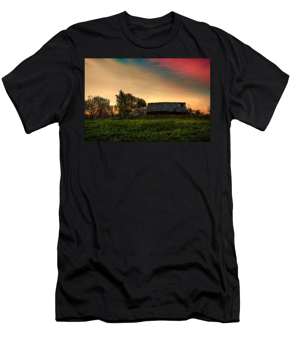 Landscape Men's T-Shirt (Athletic Fit) featuring the photograph Pink Sunrise. Old Barn An Cherry Blossom by Jenny Rainbow