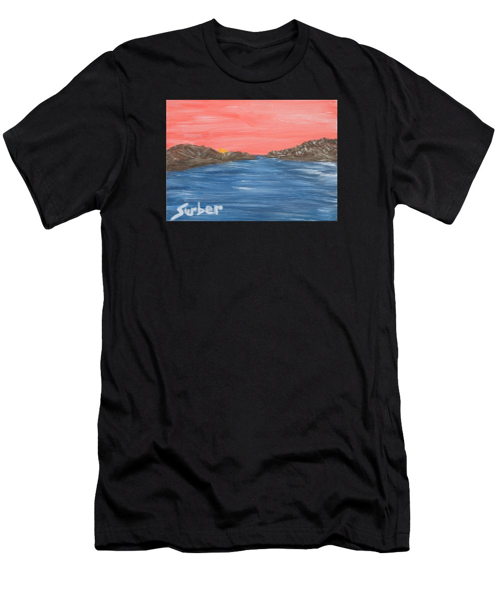 Ocean Men's T-Shirt (Athletic Fit) featuring the painting Pink Sunset by Suzanne Surber