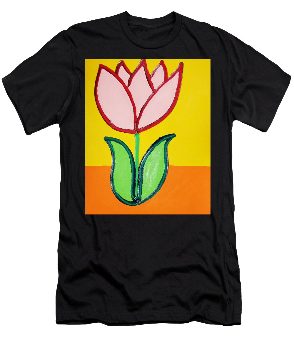 Tulip Men's T-Shirt (Athletic Fit) featuring the painting Pink Tulip by Matthew Brzostoski