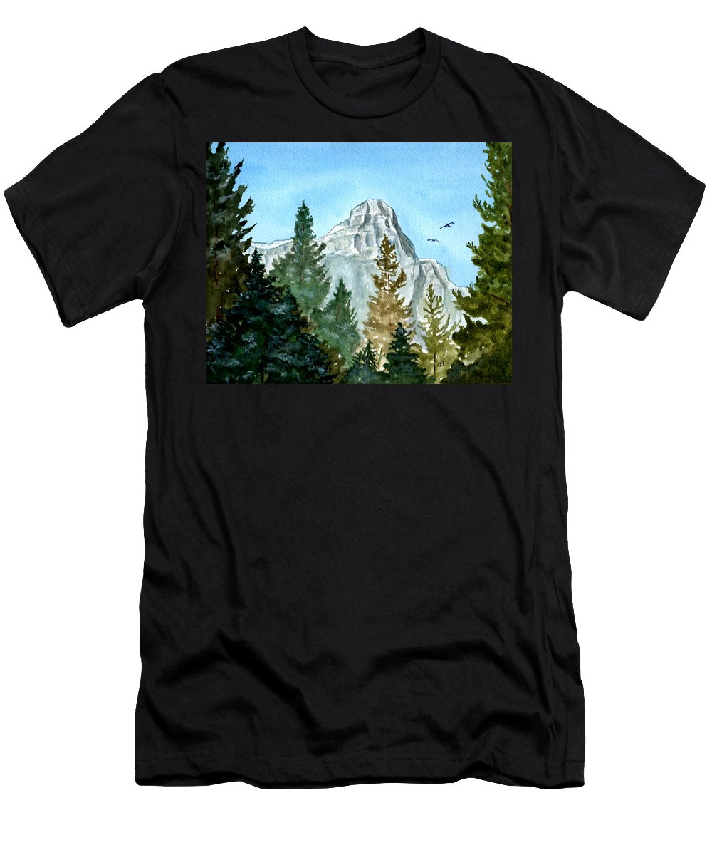 Watercolor Men's T-Shirt (Athletic Fit) featuring the painting Pinnacle by Brenda Owen