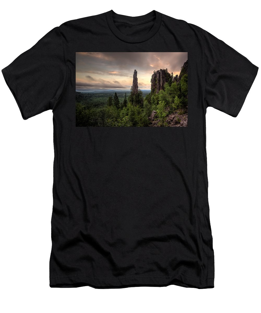 Bluff Men's T-Shirt (Athletic Fit) featuring the photograph Pinnacles The Dorion Tower by Jakub Sisak