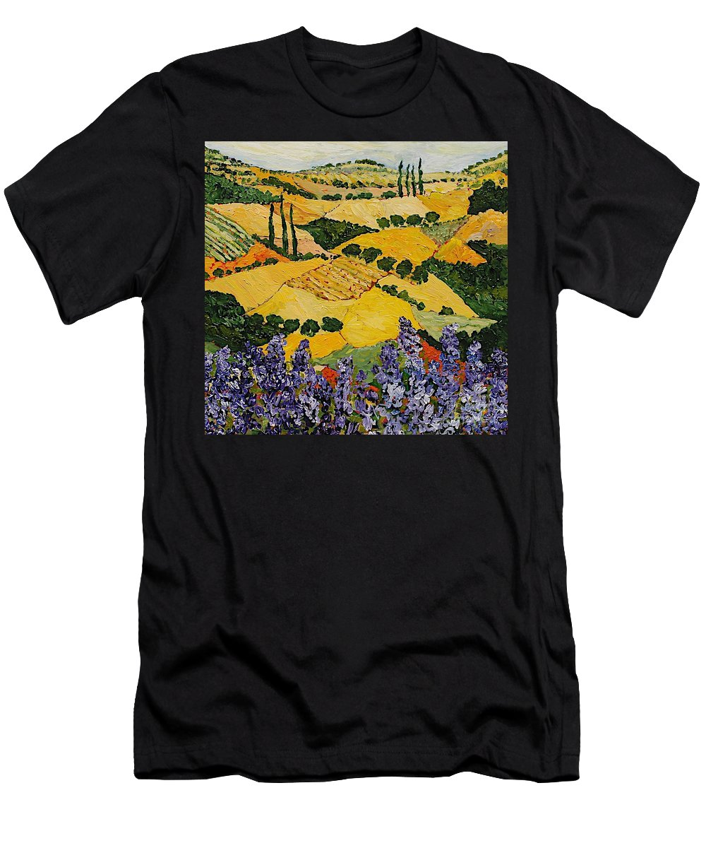 Landscape Men's T-Shirt (Athletic Fit) featuring the painting Piping Hot by Allan P Friedlander