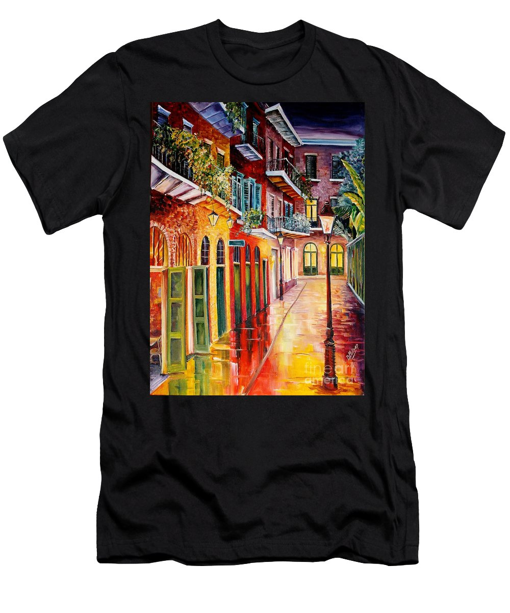 New Orleans Men's T-Shirt (Athletic Fit) featuring the painting Pirates Alley By Night by Diane Millsap