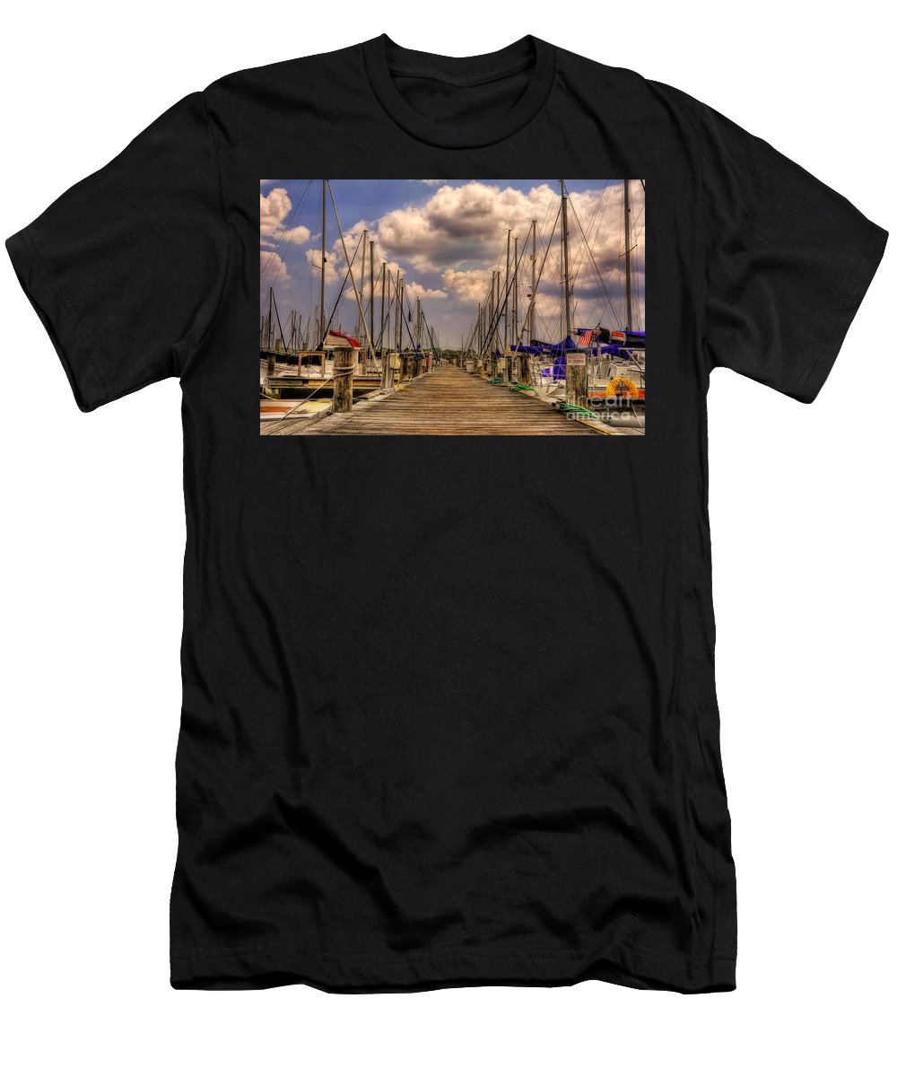 Sail Boat Men's T-Shirt (Athletic Fit) featuring the photograph Pirate's Cove by Lois Bryan