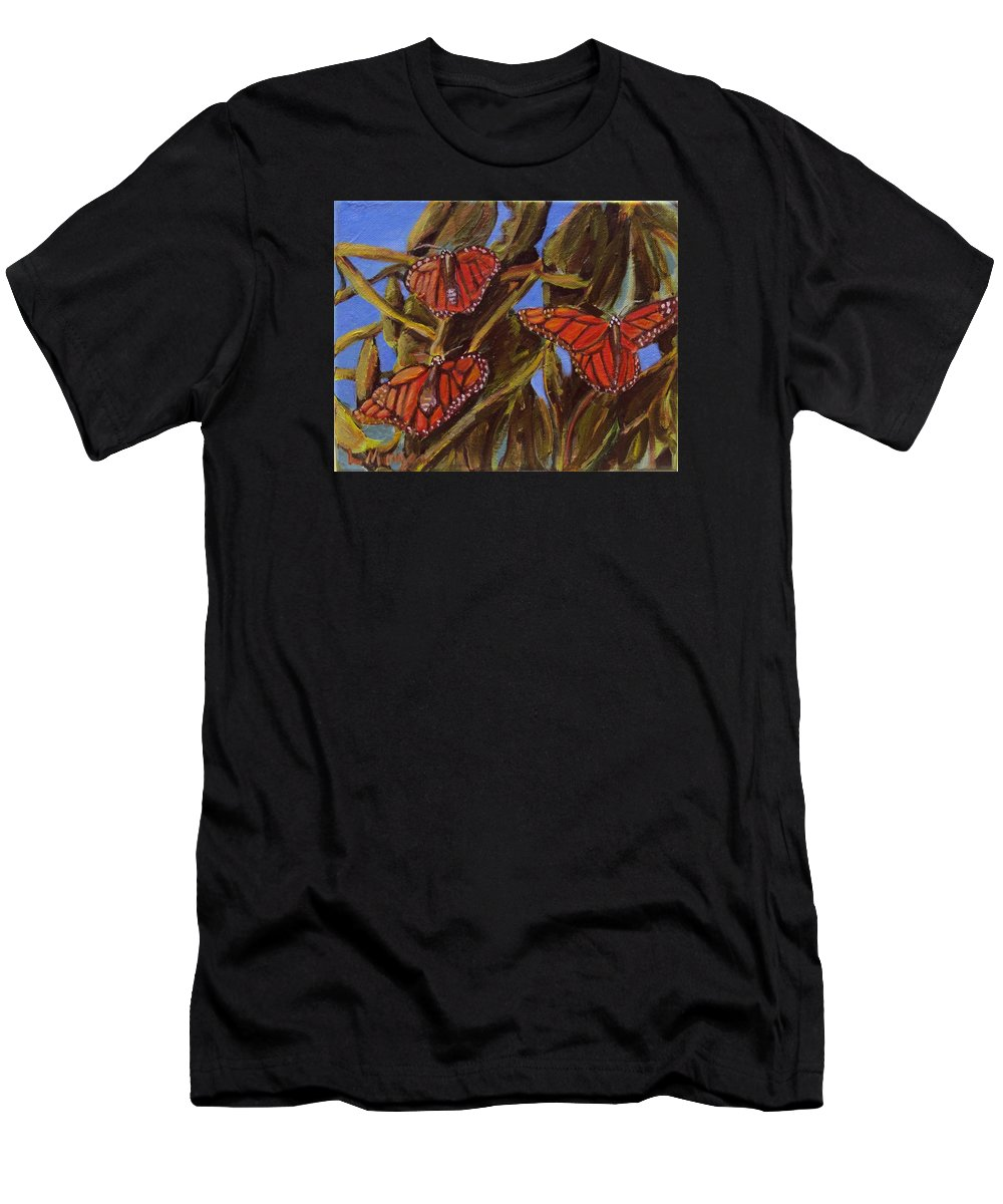 Butterflies Men's T-Shirt (Athletic Fit) featuring the painting Pismo Monarchs by Laurie Morgan