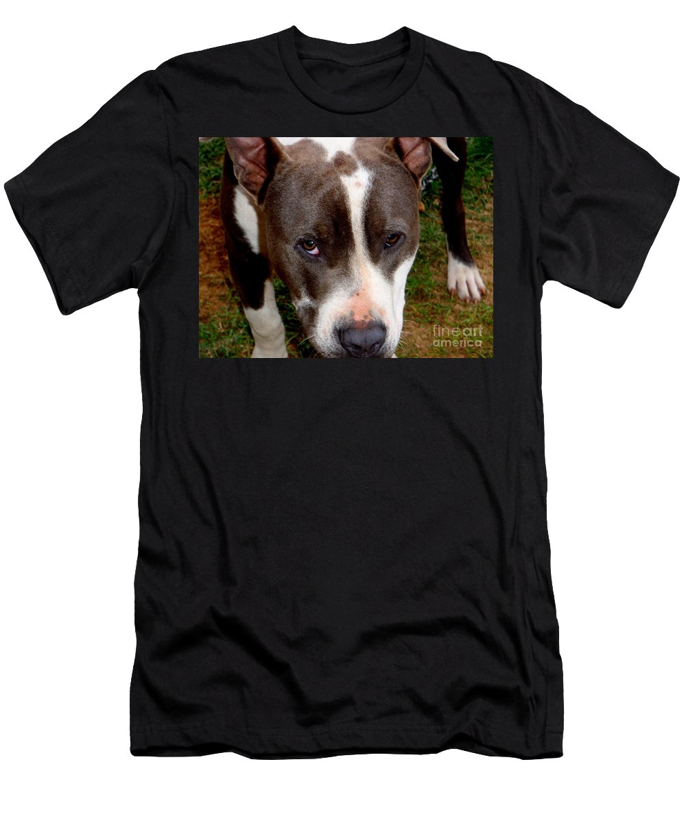 Brown Men's T-Shirt (Athletic Fit) featuring the photograph Pit Bull - 2 by Mary Deal