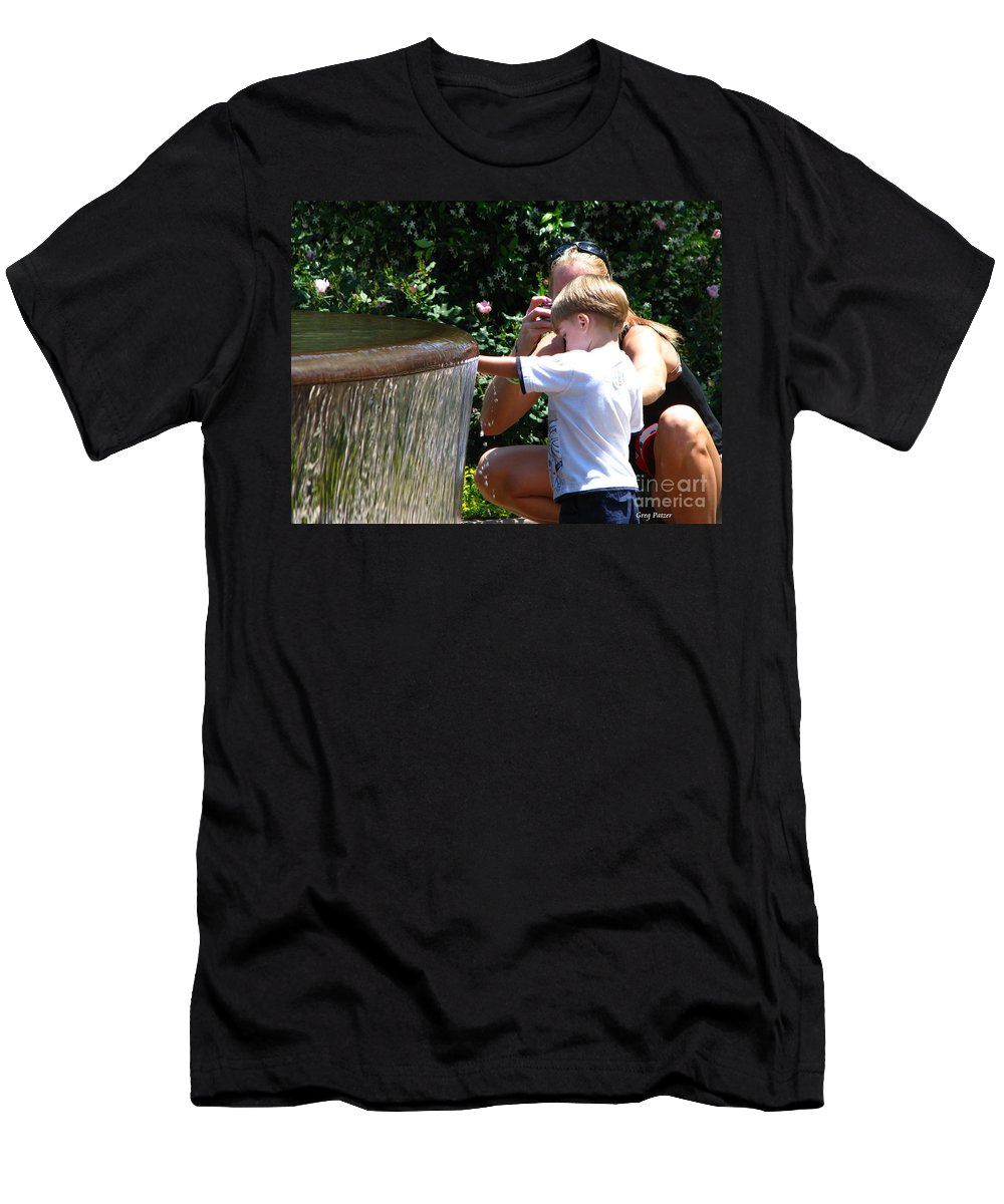 Art For The Wall...patzer Photography Men's T-Shirt (Athletic Fit) featuring the photograph Playing In Water by Greg Patzer