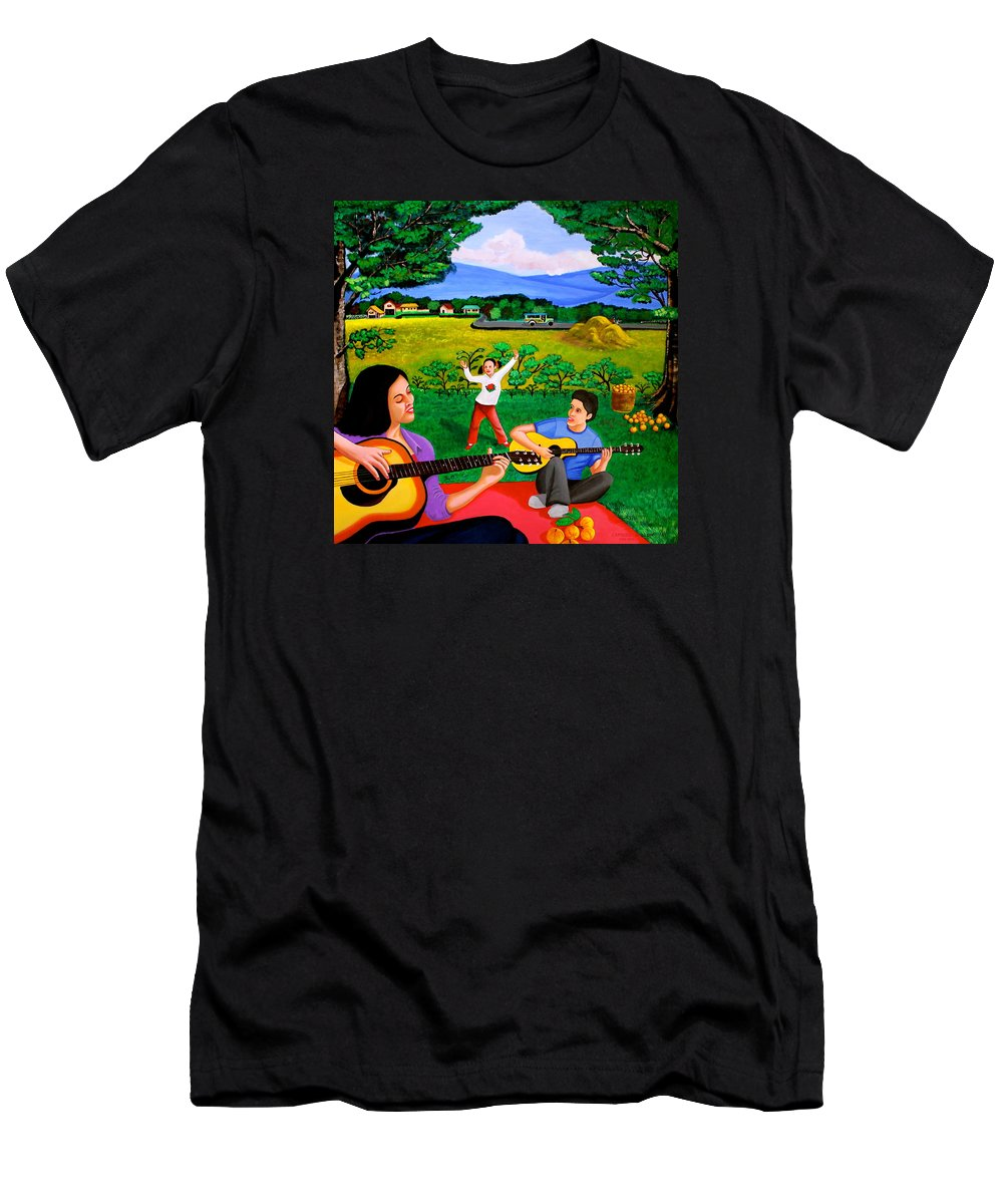 Guitar Men's T-Shirt (Athletic Fit) featuring the painting Playing Melodies Under The Shade Of Trees by Cyril Maza
