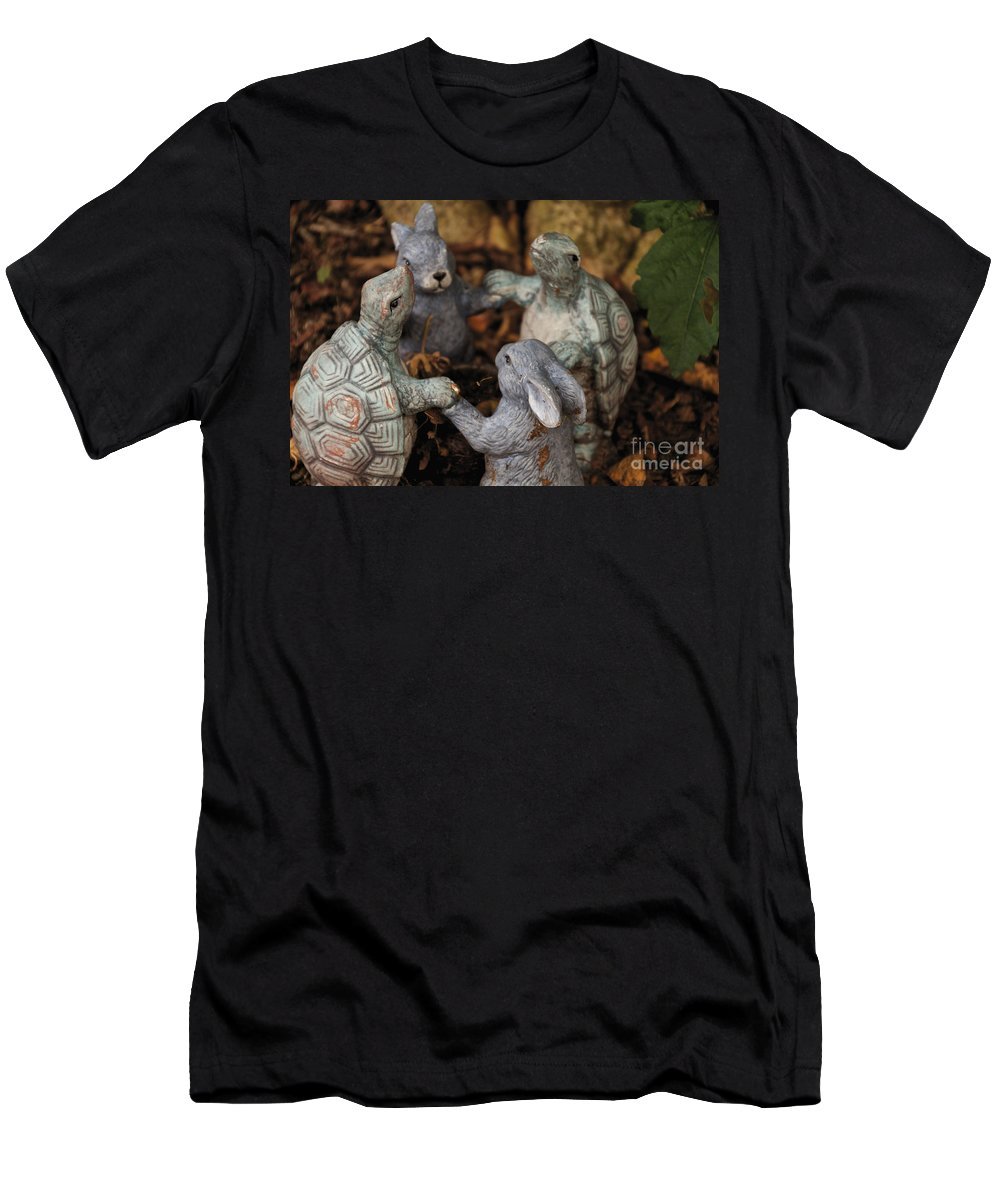 Garden Gnome Men's T-Shirt (Athletic Fit) featuring the photograph Playing With Friends by William Norton