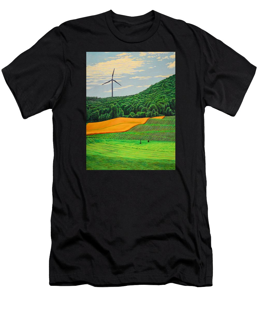 Landscape Men's T-Shirt (Athletic Fit) featuring the painting Plenty by Kenneth Cobb