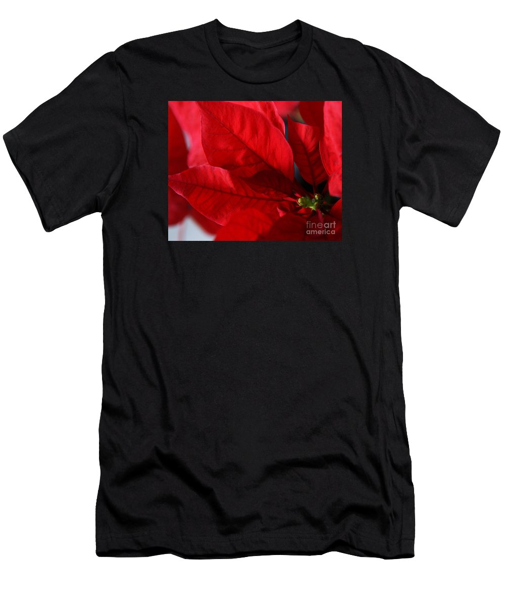 Poinsettia Men's T-Shirt (Athletic Fit) featuring the photograph Poinsettia by Linda Shafer
