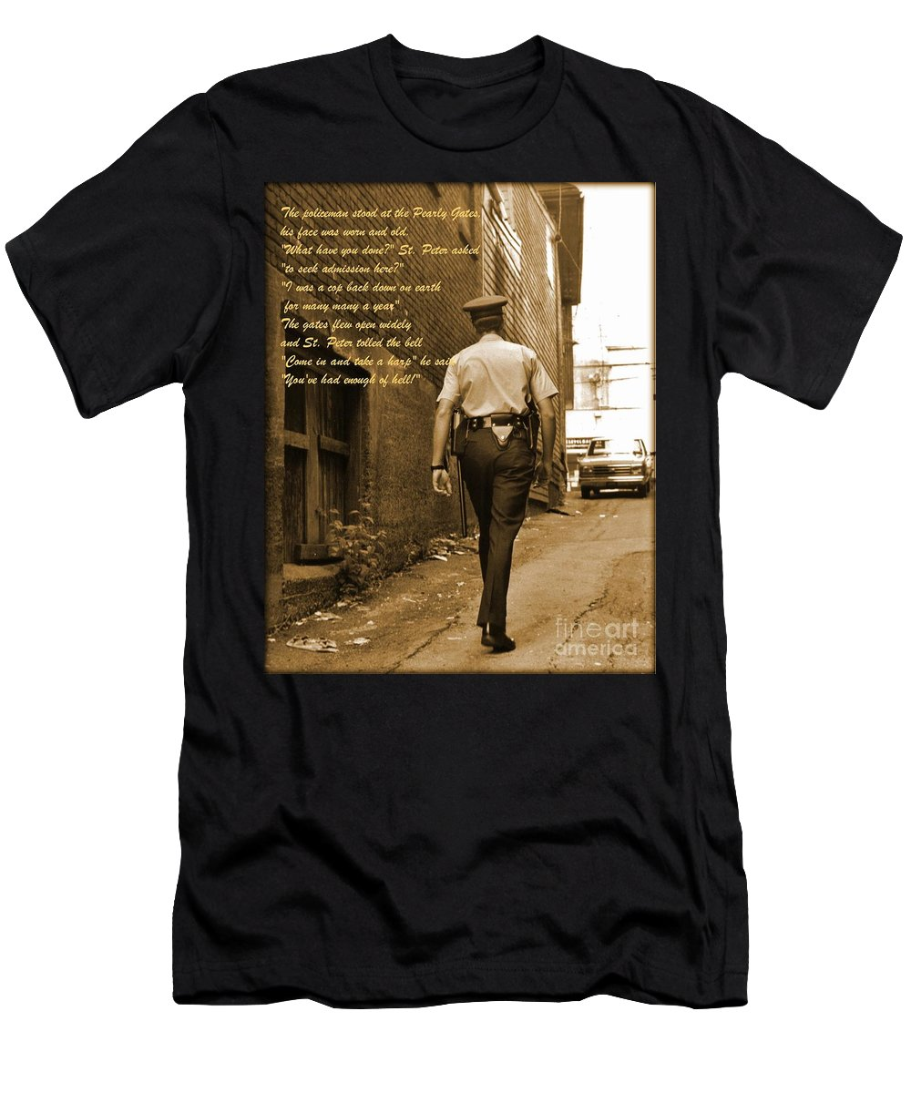 Police Print Men's T-Shirt (Athletic Fit) featuring the photograph Police Poem by John Malone