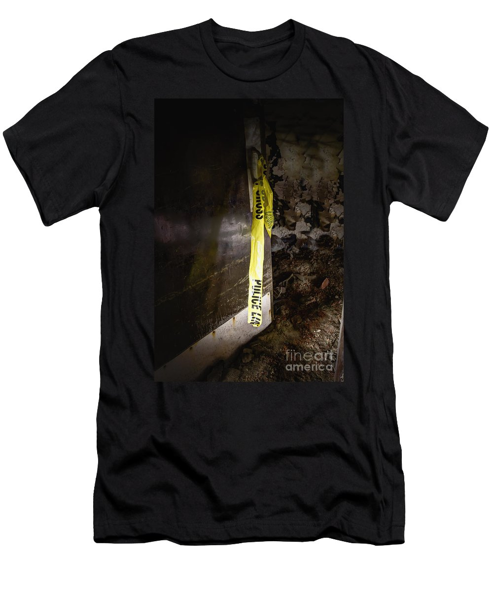 Door Men's T-Shirt (Athletic Fit) featuring the photograph Police Tape by Margie Hurwich