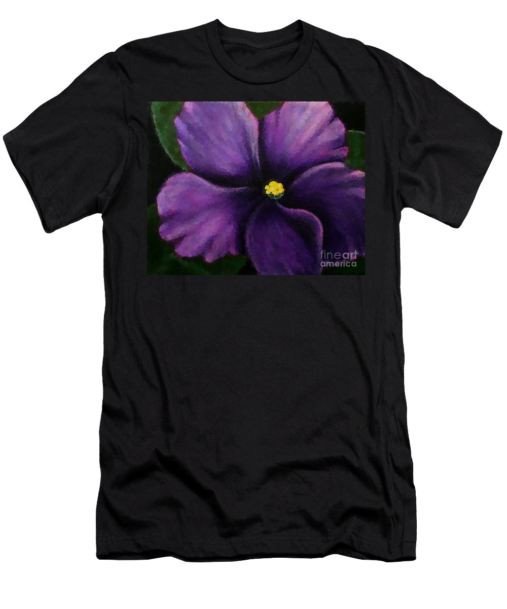 Polka Dot Purple African Violet Men's T-Shirt (Athletic Fit) featuring the photograph Polka Dot Purple African Violet by Barbara Griffin