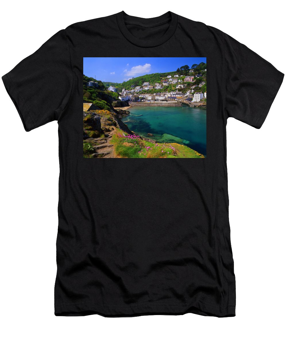 Polperro Men's T-Shirt (Athletic Fit) featuring the photograph Polperro Harbor by Darren Galpin