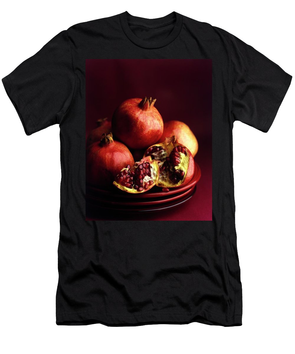 Fruits Men's T-Shirt (Athletic Fit) featuring the photograph Pomegranates by Romulo Yanes