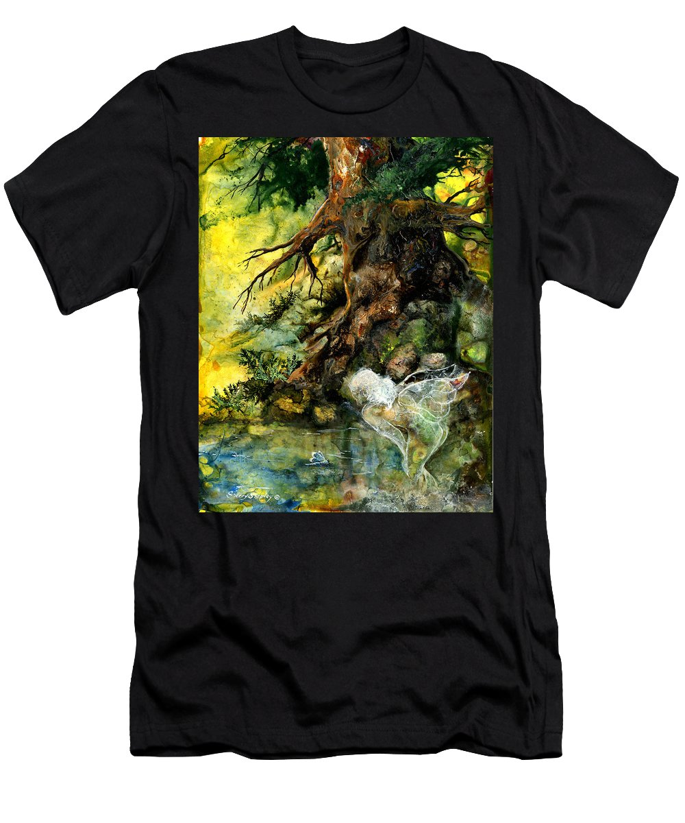 Fairy Men's T-Shirt (Athletic Fit) featuring the painting Pond Fairy by Sherry Shipley