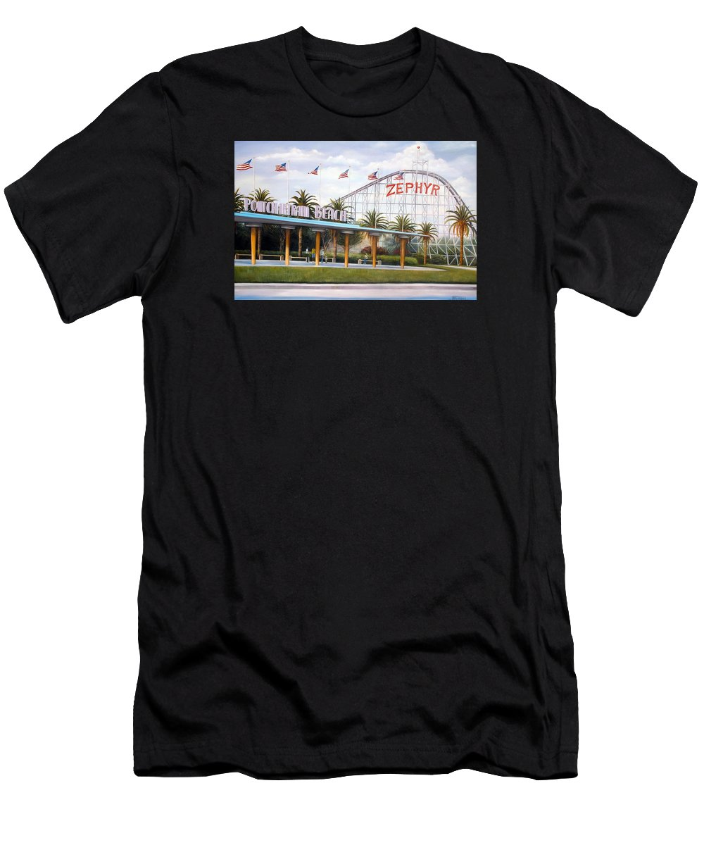 Pontchartrain Beach Men's T-Shirt (Athletic Fit) featuring the painting Pontchartrain Beach by Judy Merrell