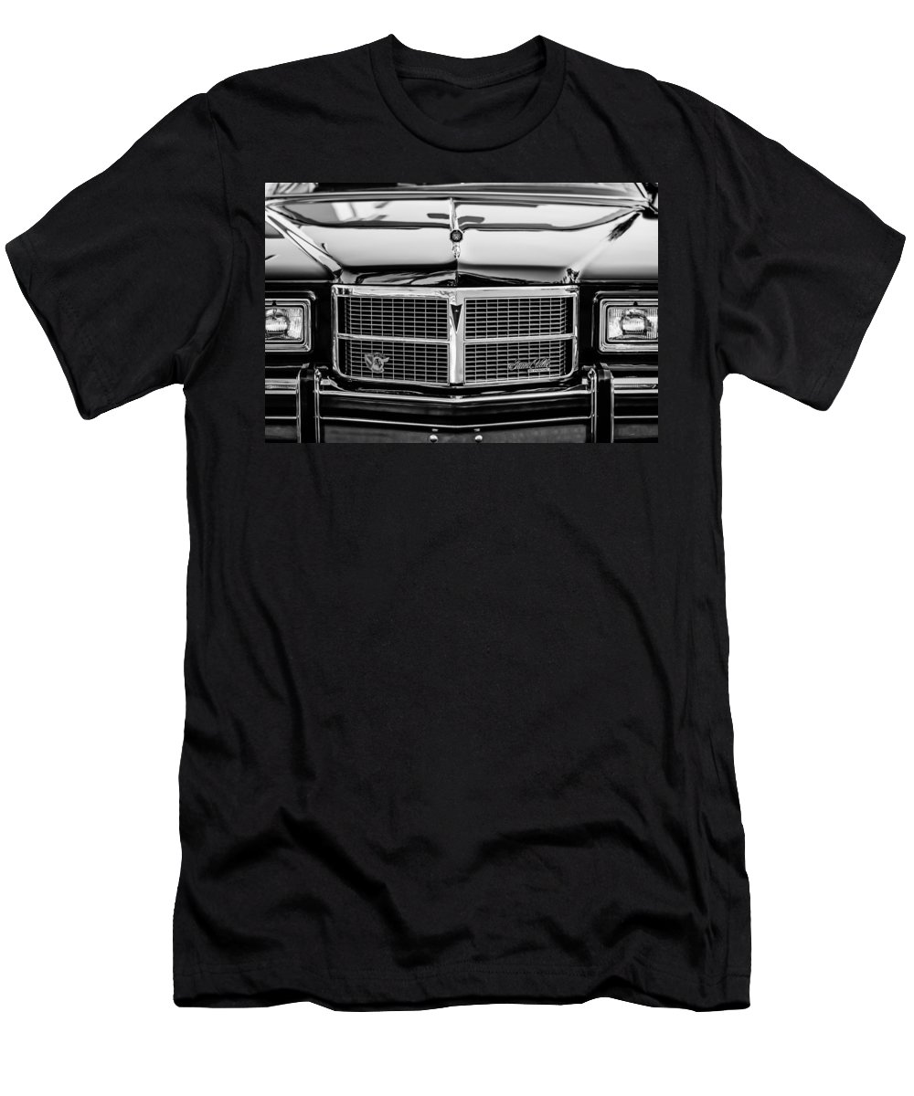 Pontiac Grand Ville Grille Men's T-Shirt (Athletic Fit) featuring the photograph Pontiac Grand Ville Grille -0332bw by Jill Reger