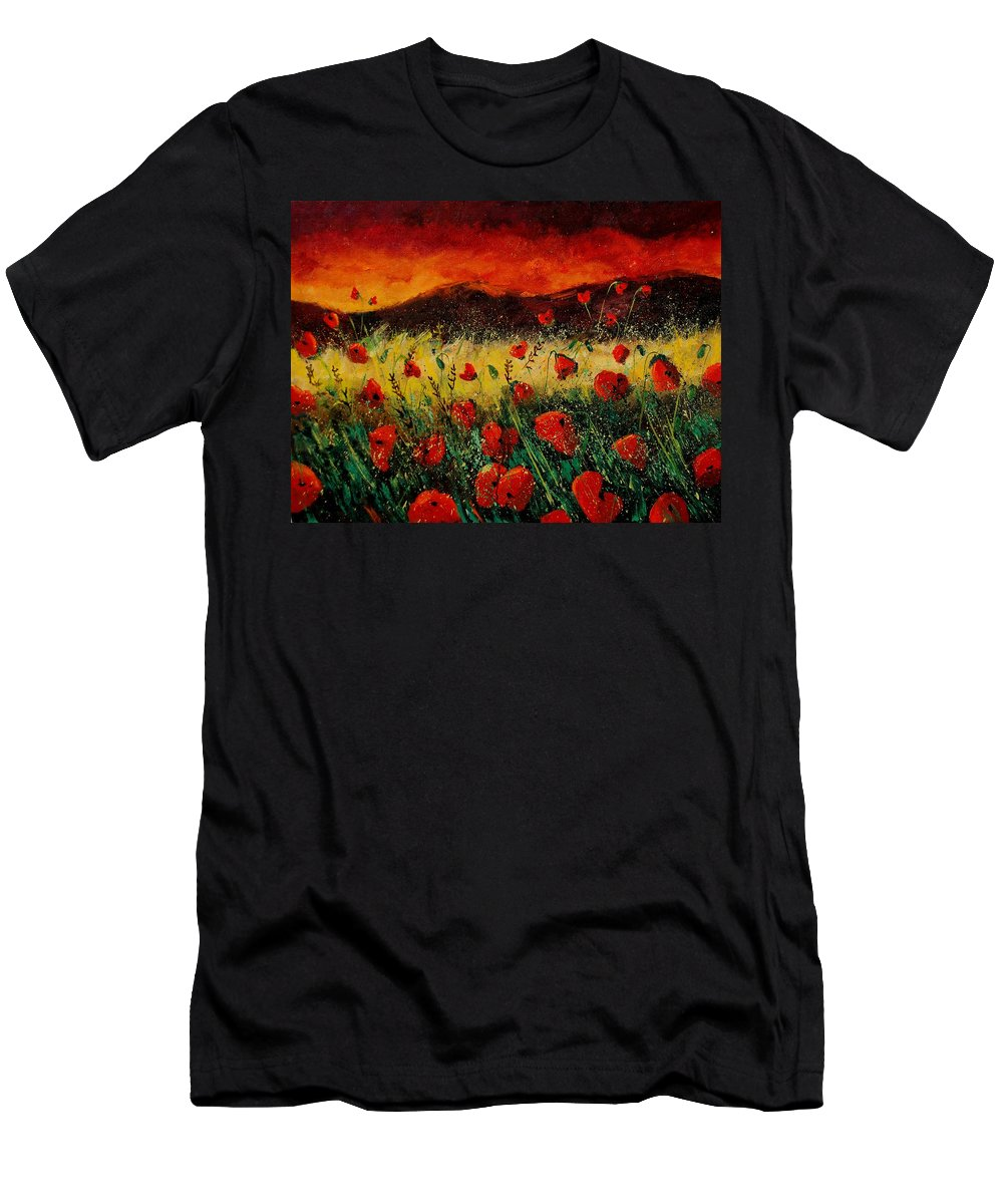 Poppies Men's T-Shirt (Athletic Fit) featuring the painting Poppies 68 by Pol Ledent