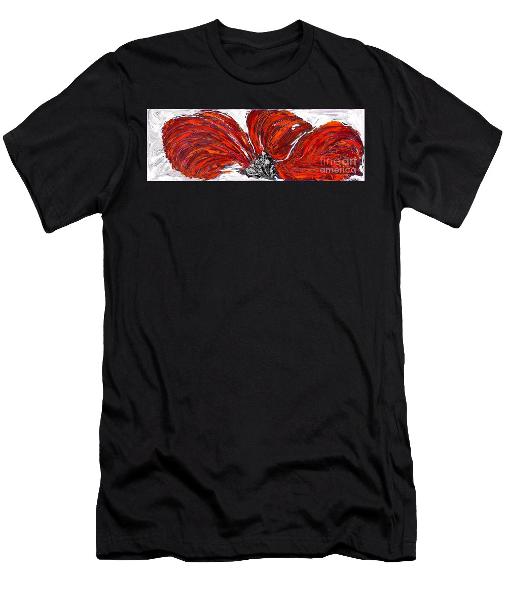 Poppy Men's T-Shirt (Athletic Fit) featuring the painting Poppy 44 by Sheila McPhee