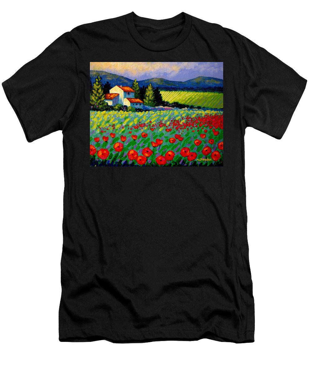 Poppies Men's T-Shirt (Athletic Fit) featuring the painting Poppy Field - Provence by John Nolan
