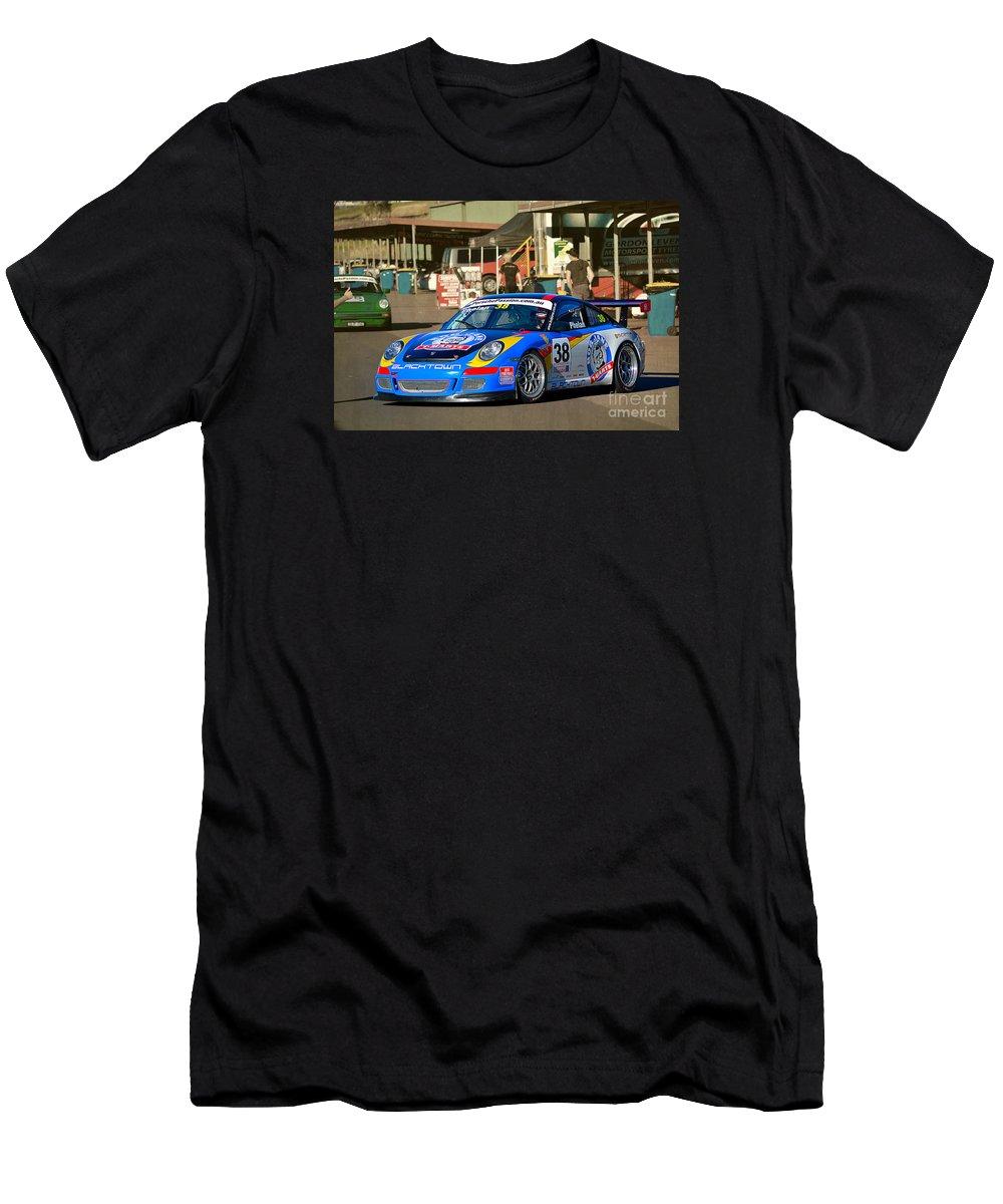 Porsche Men's T-Shirt (Athletic Fit) featuring the photograph Porsche In The Pits by Stuart Row