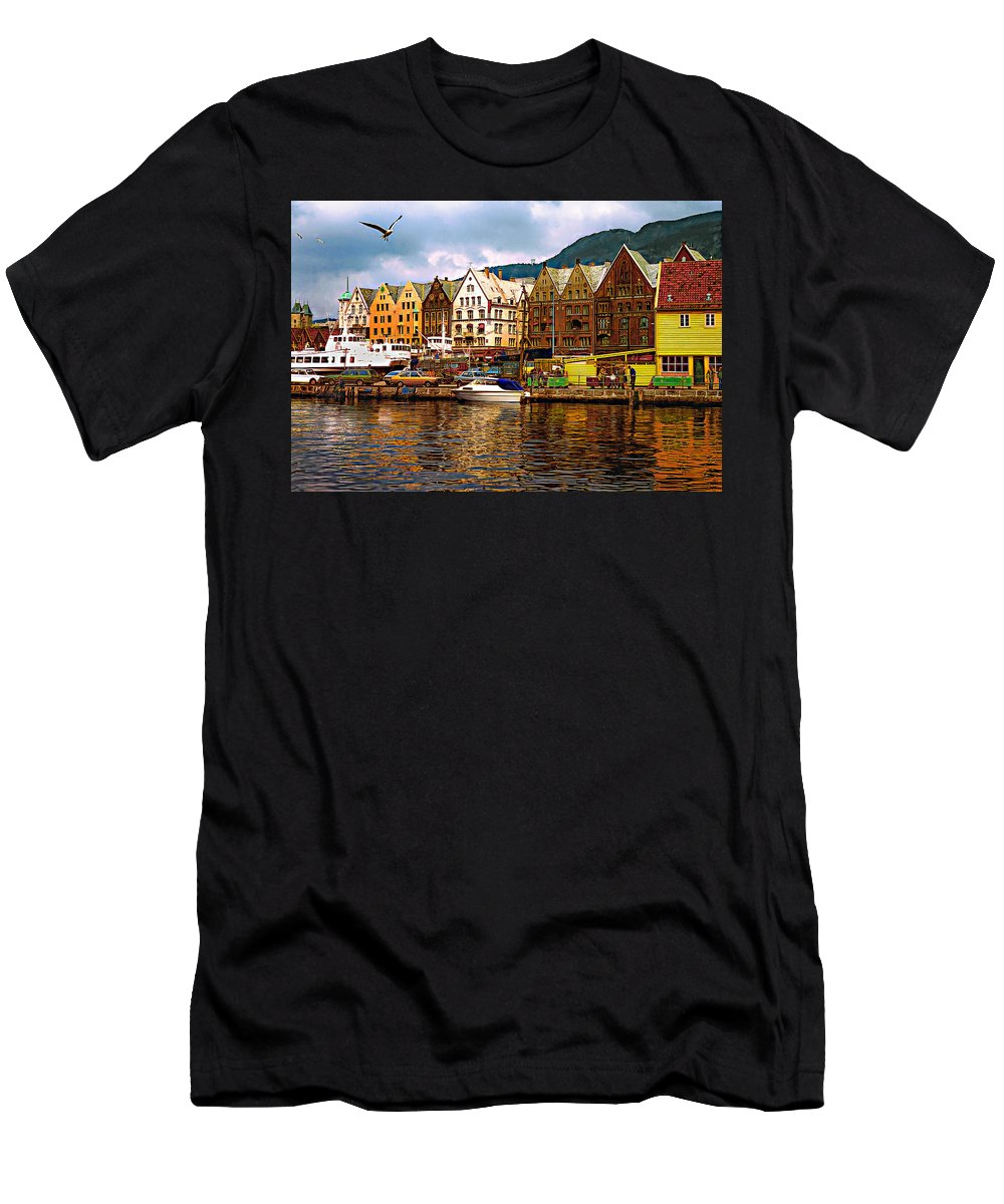 Alesund Men's T-Shirt (Athletic Fit) featuring the photograph Port Life by Steve Harrington