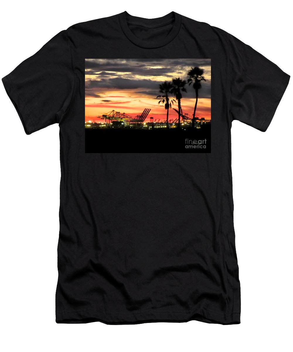 Port Of Long Beach Men's T-Shirt (Athletic Fit) featuring the photograph Port Of Long Beach by Jennie Breeze