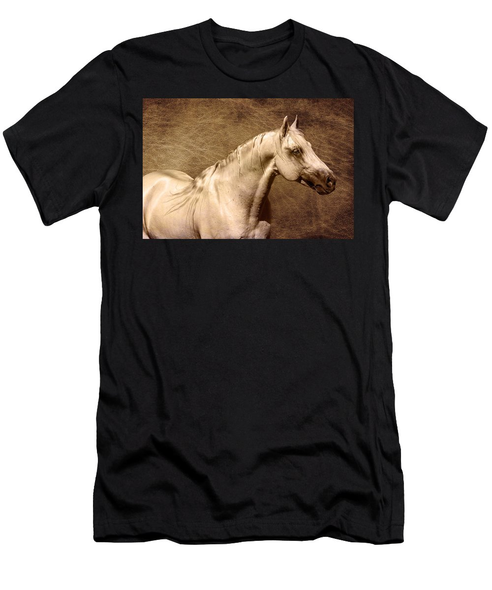 Portait Of A Stallion Men's T-Shirt (Athletic Fit) featuring the photograph Portait Of A Stallion by Wes and Dotty Weber