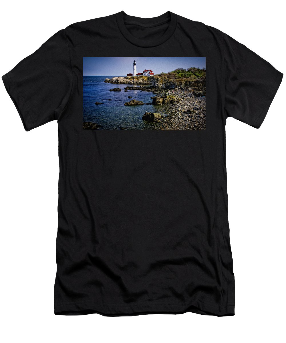 Bay Men's T-Shirt (Athletic Fit) featuring the photograph Portland Headlight 37 Oil by Mark Myhaver
