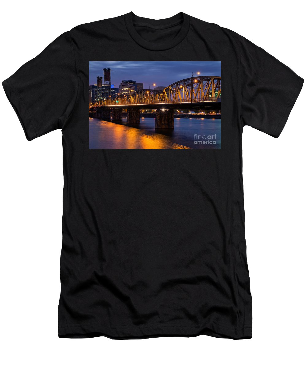 Hawthorne Bridge Men's T-Shirt (Athletic Fit) featuring the photograph Portland Skyline And Hawthorne Bridge by Bryan Mullennix