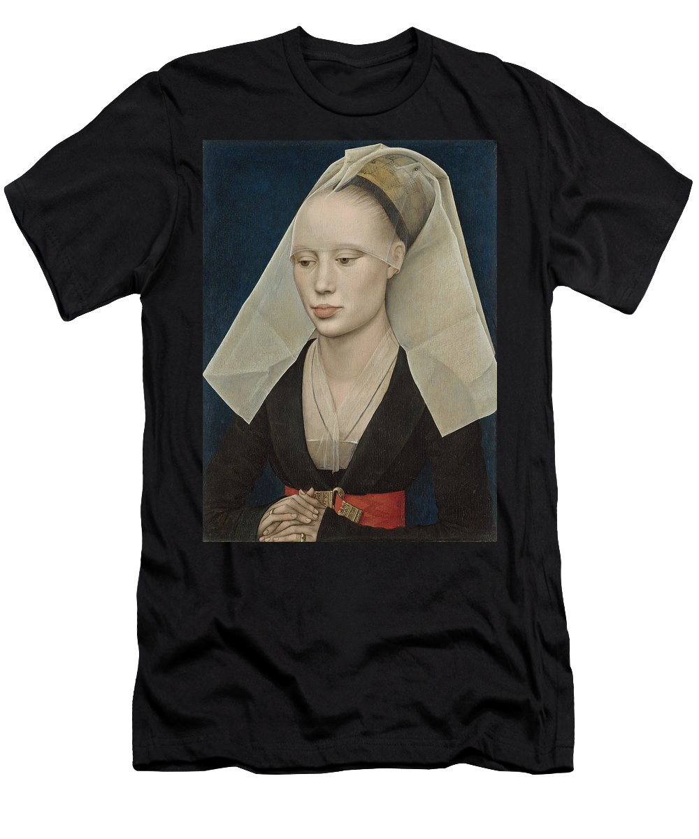 Female; Veil; Headdress; Northern; Renaissance; Half; Length Men's T-Shirt (Athletic Fit) featuring the painting Portrait Of A Lady by Rogier van der Weyden