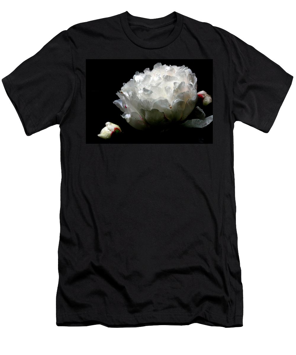 Peony Men's T-Shirt (Athletic Fit) featuring the photograph Portrait Of A Peony by Deborah Crew-Johnson