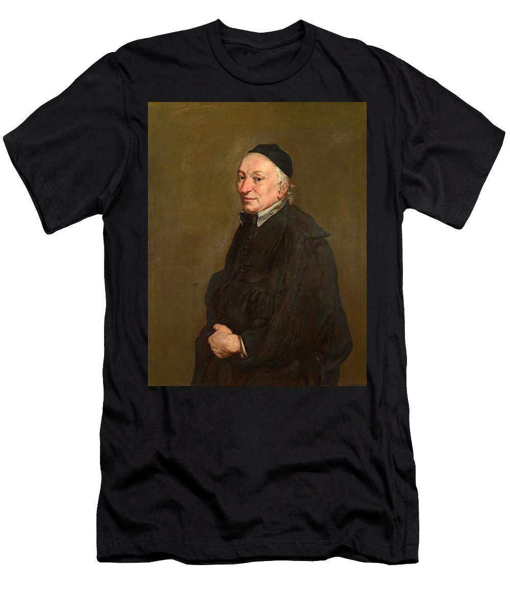 Giacomo Ceruti Men's T-Shirt (Athletic Fit) featuring the painting Portrait Of A Priest by Giacomo Ceruti