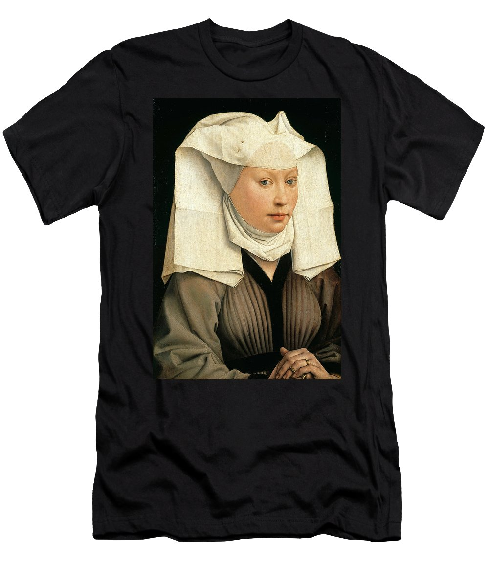 Rogier Van Der Weyden Men's T-Shirt (Athletic Fit) featuring the painting Portrait Of A Woman With A Winged Bonnet by Rogier van der Weyden
