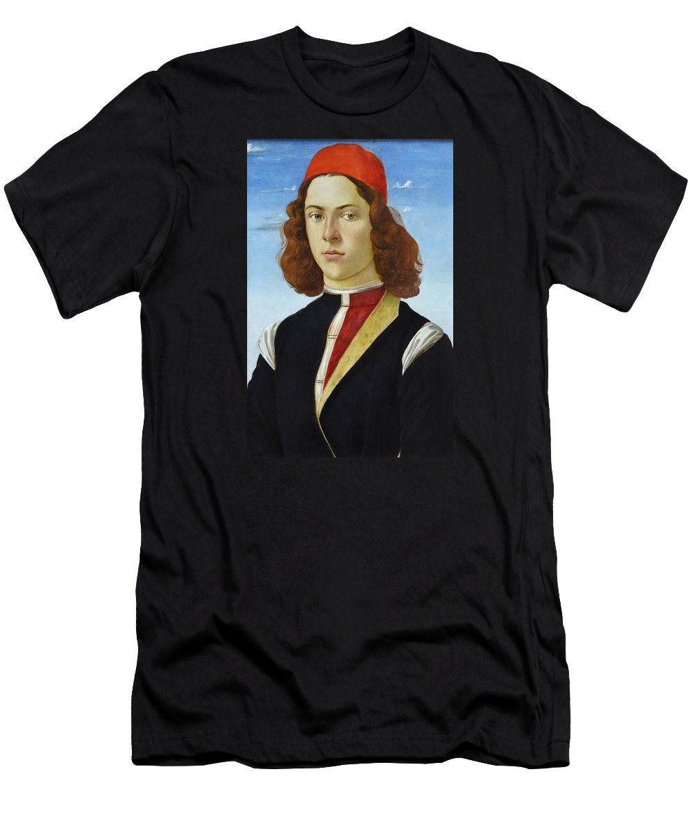 Painting Men's T-Shirt (Athletic Fit) featuring the photograph Portrait Of A Young Man Ghirlandaio by RicardMN Photography