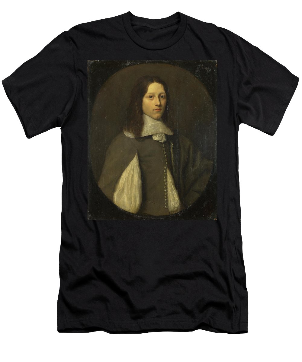 Abraham Raguineau Men's T-Shirt (Athletic Fit) featuring the painting Portrait Of A Young Man In Grey by Abraham Raguineau