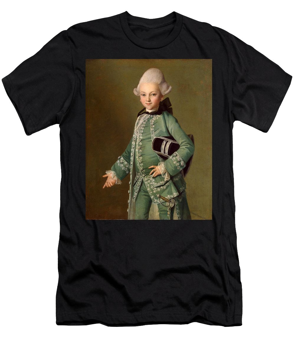 Carl-ludwig Christinek Men's T-Shirt (Athletic Fit) featuring the painting Portrait Of Aleksey Bobrinsky As A Child by Carl-Ludwig Christinek