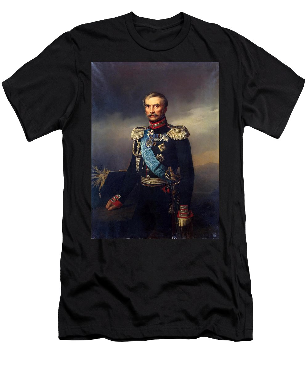 Georg Bottman Men's T-Shirt (Athletic Fit) featuring the painting Portrait Of Illarion Vasilyevich Vasilchikov by Georg Bottman
