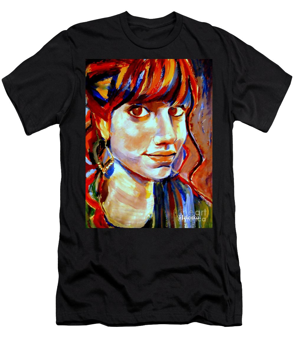 Nude Figures Men's T-Shirt (Athletic Fit) featuring the painting Portrait Of Ivana by Helena Wierzbicki