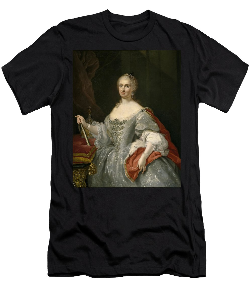 Giuseppe Bonito Men's T-Shirt (Athletic Fit) featuring the painting Portrait Of Maria Amalia Of Saxony As Queen Of Naples Overlooking The Neapolitan Crown by Giuseppe Bonito